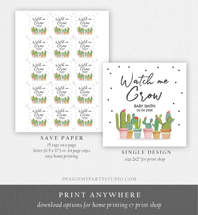 Editable Watch Me Grow Tags Fiesta Cactus Favor Tags Baby Shower Bridal Succulent Taco Bout Love Tag Corjl Baby Template Printable 0254