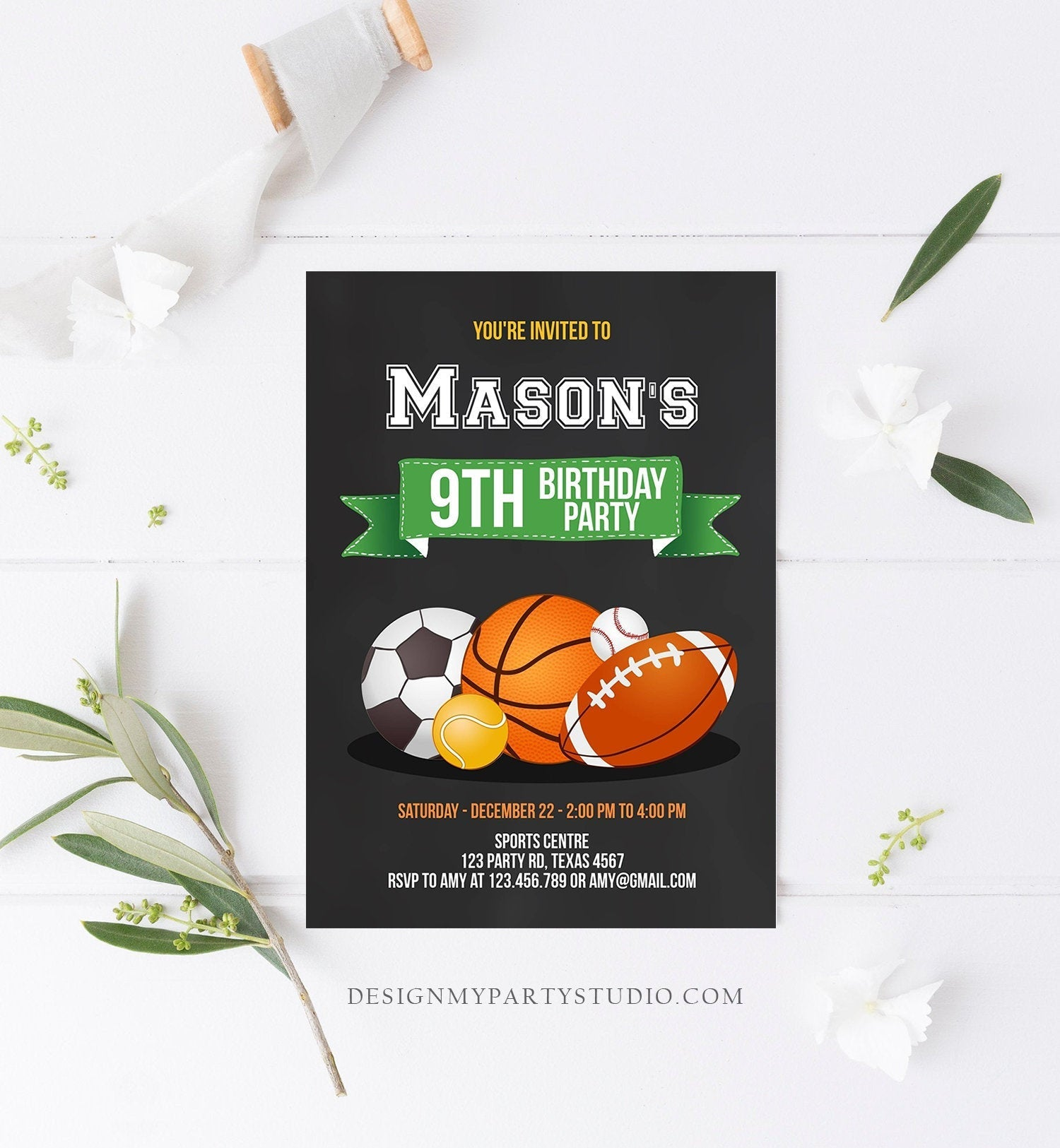 Editable Sports Birthday Invitation Boy Birthday Party Invite All Star Baseball Sports Theme Instant Download Printable Template Corjl 0137