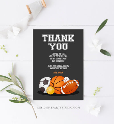 Editable Sports Thank you Card Sports Birthday Boy All Star Thank you Note Baseball Baby Shower Template Instant Download Corjl 0137