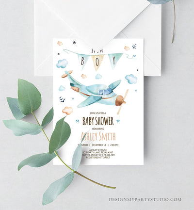 Editable Airplane Baby Shower Invitation Vintage Airplane Blue Adventure Boy Baby Shower Up Up and Away Template Digital Download Corjl 0185