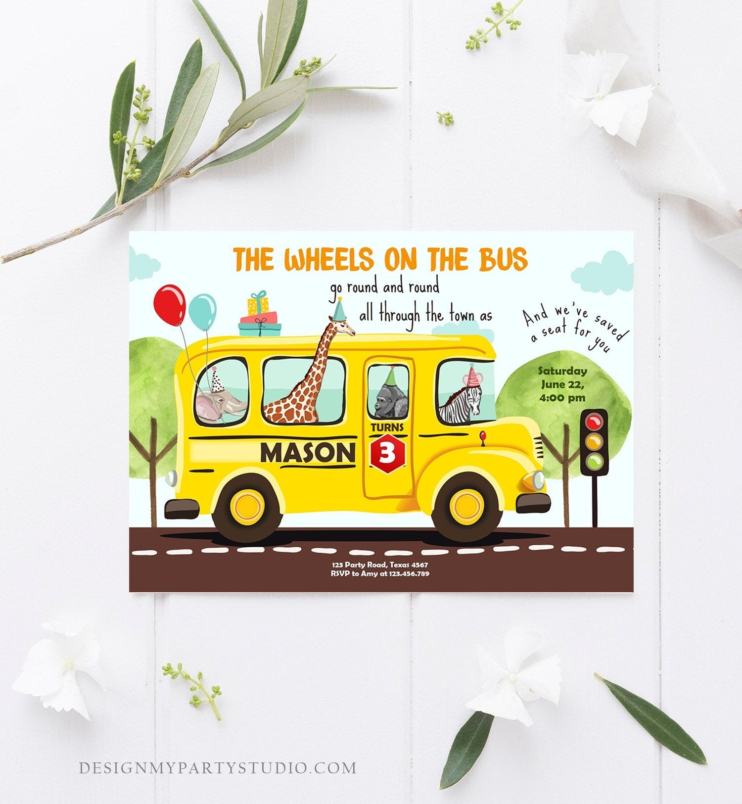 Editable Wheels on the Bus Birthday Invitation Bus Party Invite School Bus Animals Boy Girl Download Printable Template Digital Corjl 0325