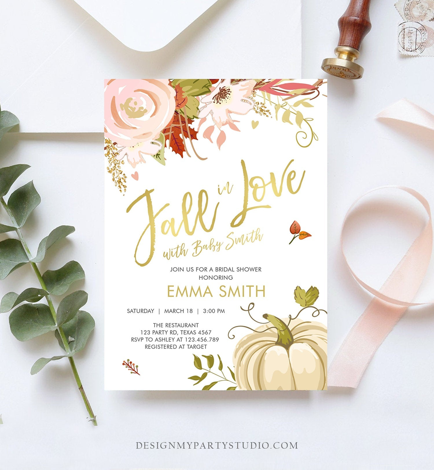 Editable Fall in Love Baby Shower Invitation Pumpkin Autumn Floral Flowers Pink Gold Rustic Party Sprinkle Coed Navy Corjl Template 0176