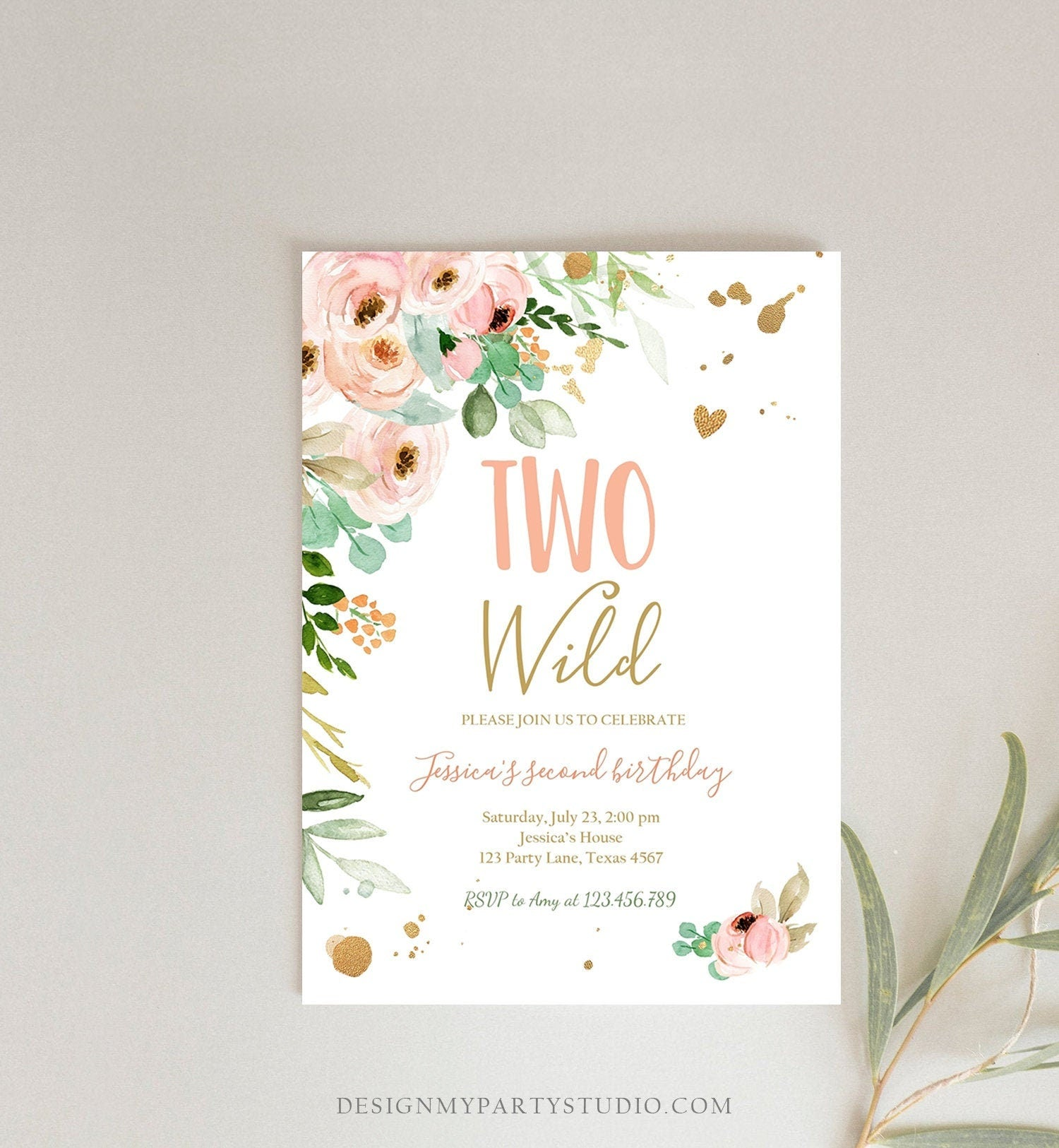 Editable Two Wild Birthday Invitation 2nd Birthday Girl Pink Gold Floral Second Birthday Wild Download Printable Template Corjl Digital 0147