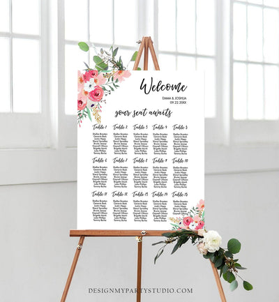 Editable Seating Chart Template Wedding Seating Sign Bridal Shower Floral Table Pink Gold Instant Download Printable Corjl 0030 0318