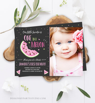 Editable Watermelon Birthday Invitation Girl Pink Red One in a Melon Party Summer Fruit First Birthday 1st Corjl Template Printable 0326