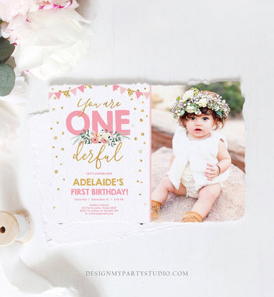 Editable Onederful Birthday Invitation Girl First Birthday Party Miss Onederful Pink Gold Glitter 1st Download Corjl Template Printable 0165