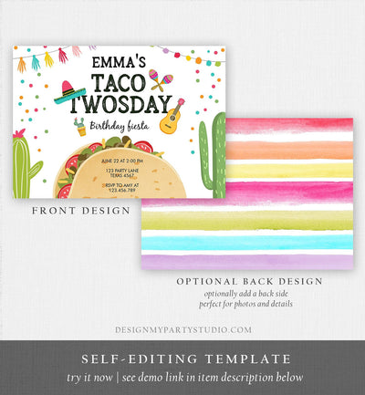 Editable Taco Twosday Invitation Mexican Twosday Birthday Fiesta 2nd Birthday Instant Download Printable Invitation Template Corjl 0161