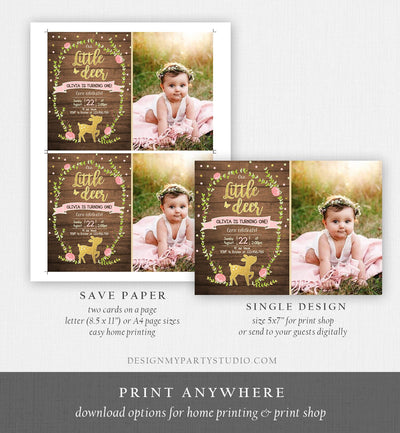 Editable Our Little Deer Birthday Invitation Pink and Gold Girl Birthday Floral Woodland Download Printable Template Corjl Digital 0085