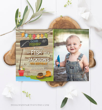 Editable Fishing Birthday Invitation Boy o-Fish-Ally Reeling the Big One Gone Fishing Fishin Digital Download Corjl Template Printable 0080