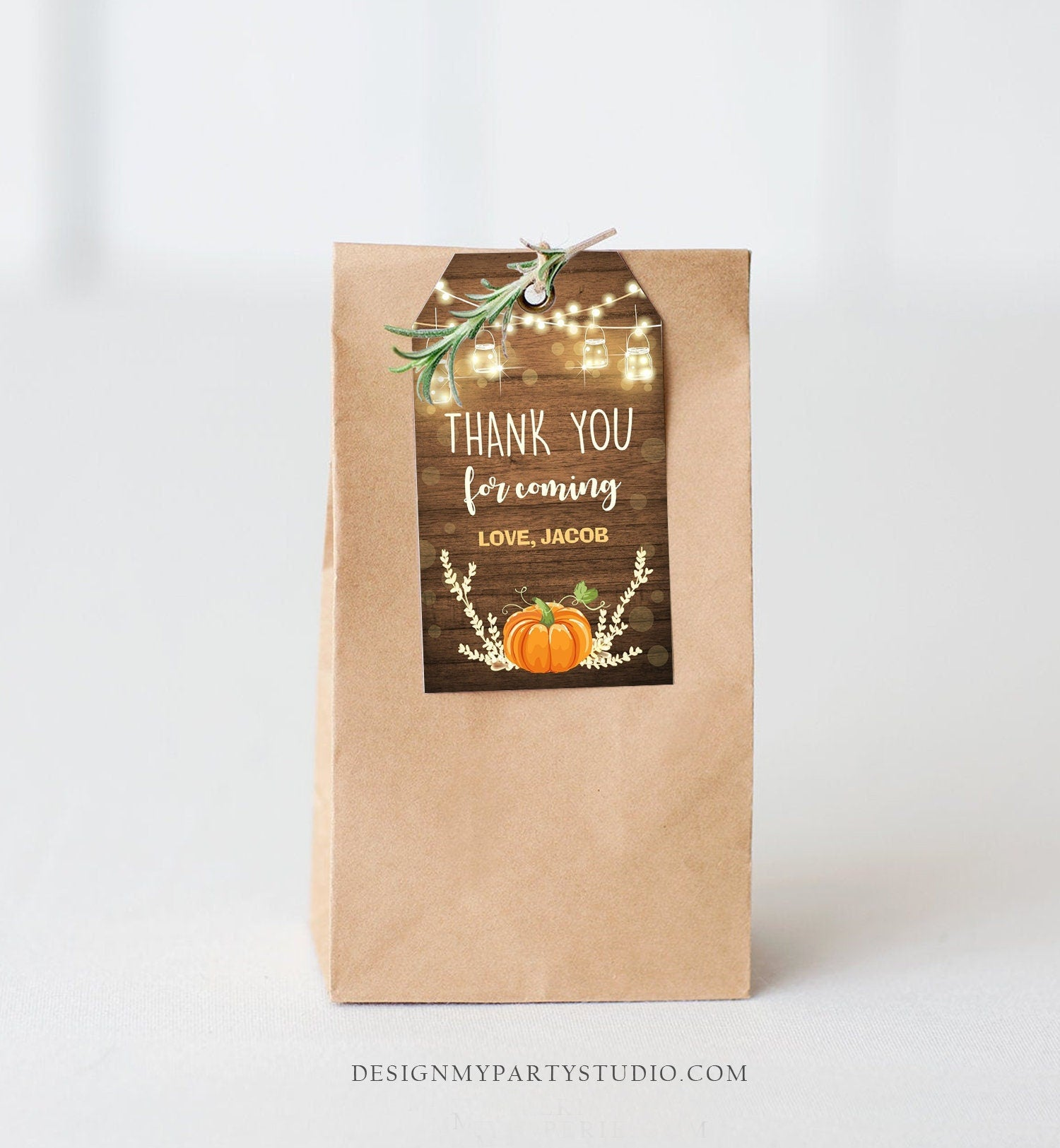 Editable Little Pumpkin Favor Tag Thank You Tag Birthday Baby Shower Rustic Wood Fall Autumn Pumpkin Download Corjl Template Printable 0015