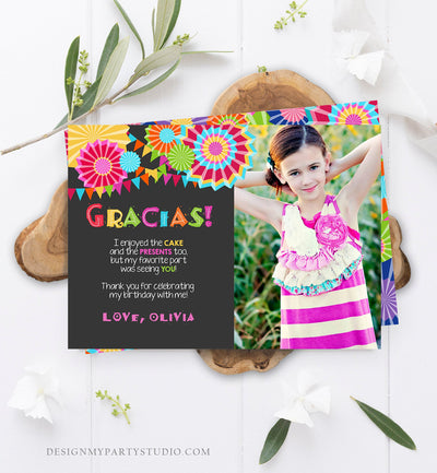 Editable Fiesta Gracias Thank You Card Mexican Birthday Party Baby Shower Graduation Note Digital Download Corjl Template Printable 0045