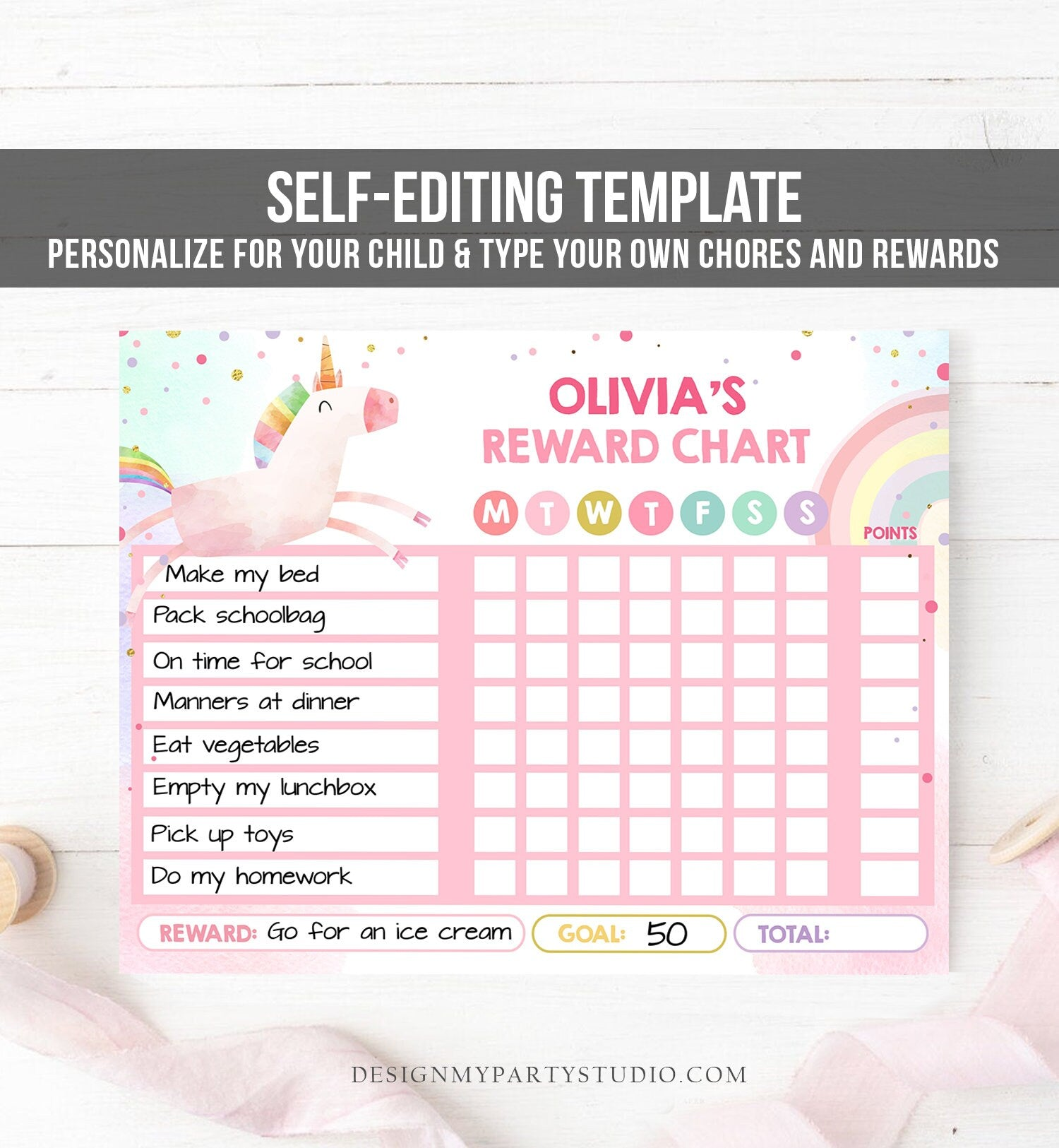 Editable Unicorn Reward Chart for Girls Unicorn Chore Chart for Kids Routine Chart Pink Purple Rainbow Gold Printable Corjl Template 0336