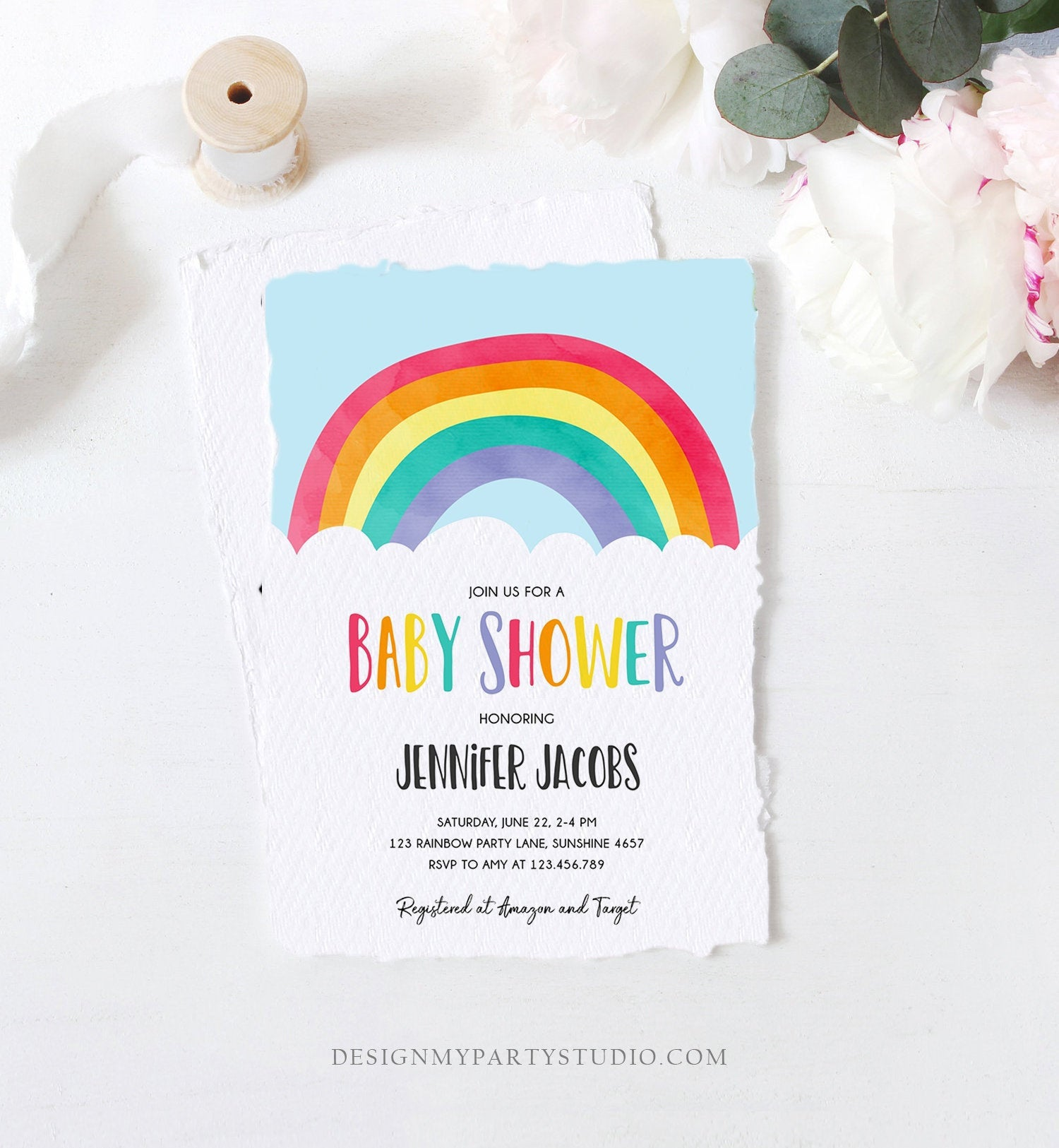 Editable Rainbow Baby Shower Invitation Boy or Girl Neutral Clouds Coed Over the Rainbow Pink or Blue Digital Corjl Template Printable 0272