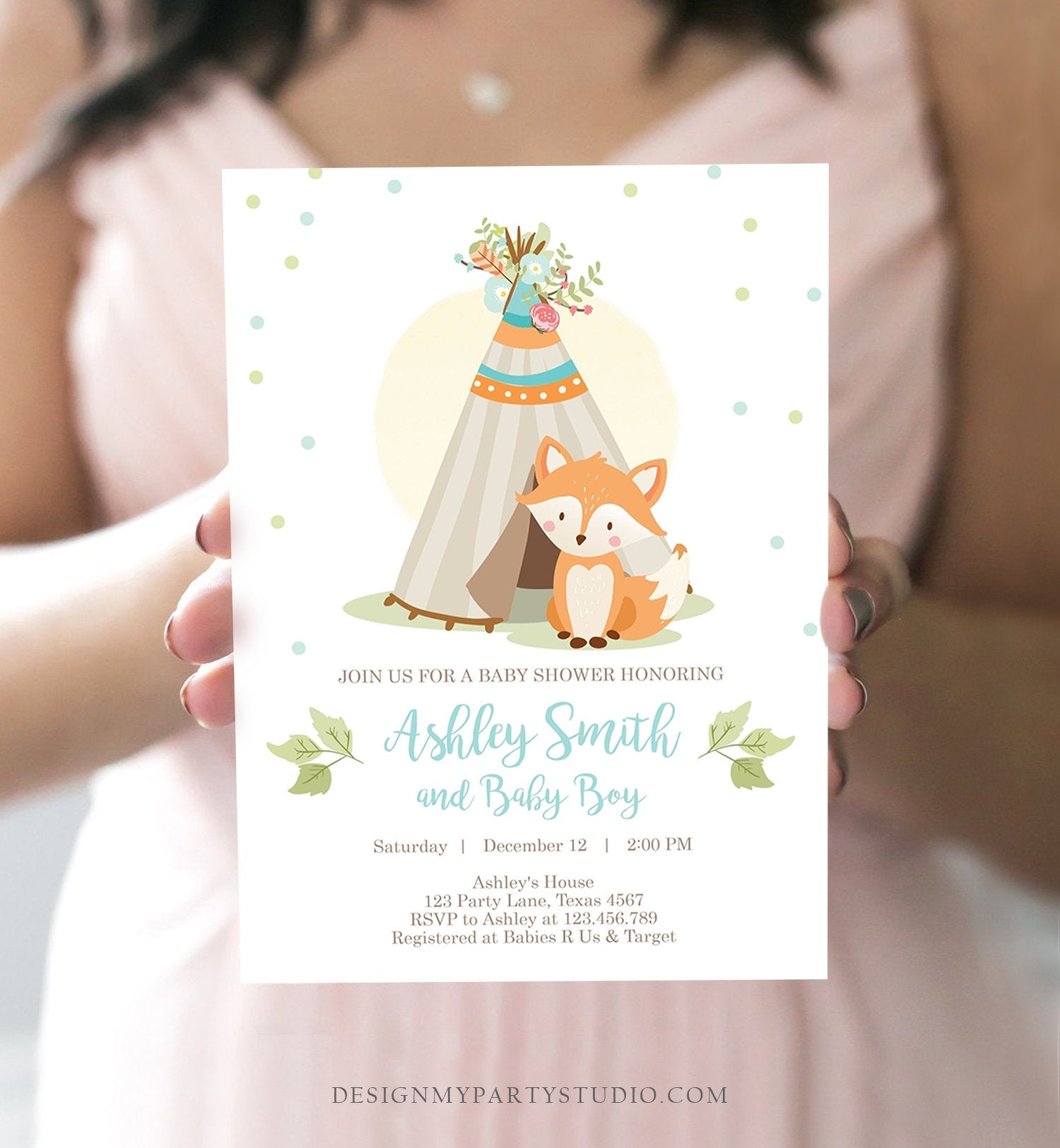 Editable Fox Baby Shower Invitation Woodland Teepee Boho Tribal Boy Baby Shower Blue Simple Download Printable Template Corjl Digital 0052