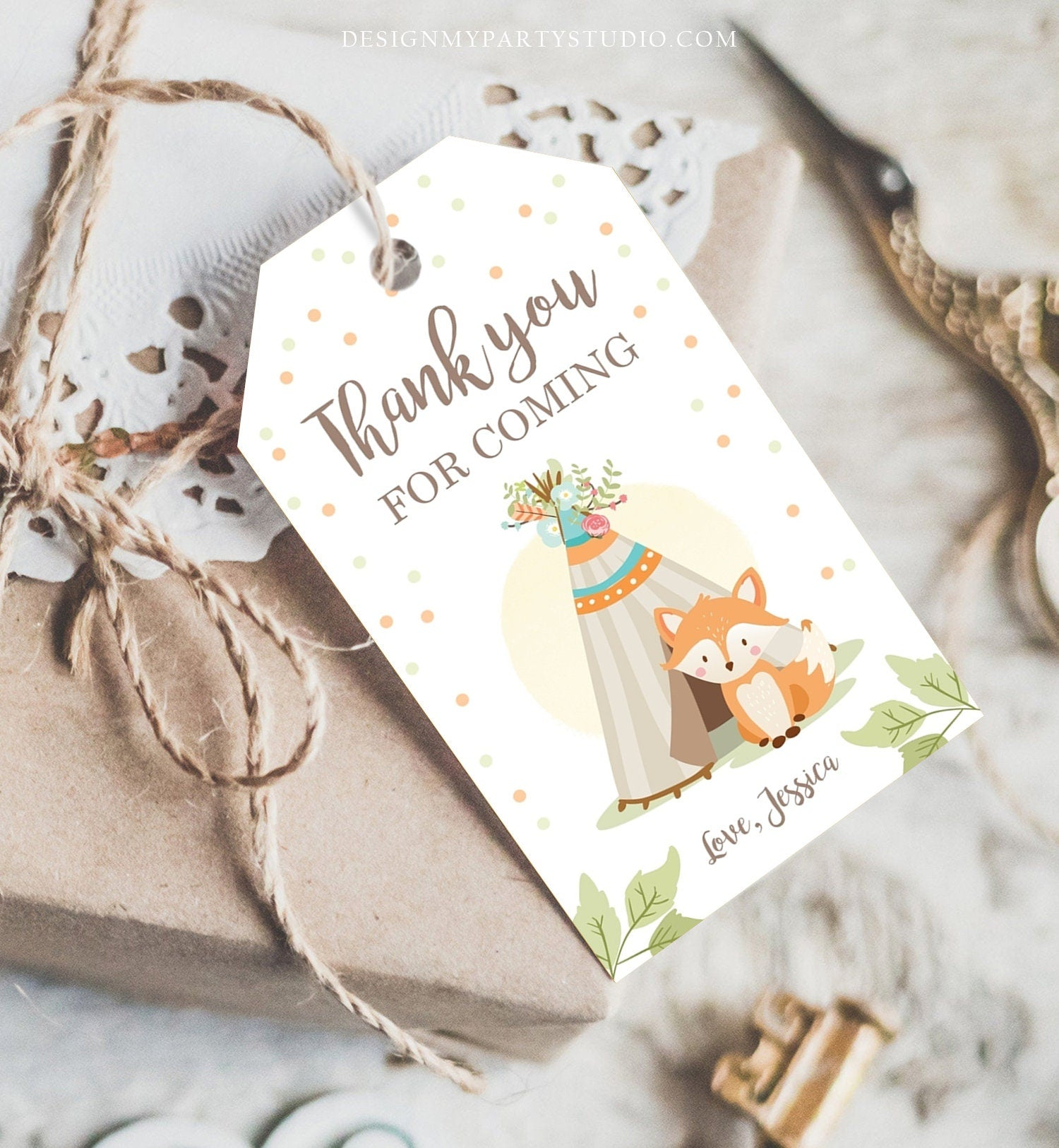 Editable Woodland Baby Shower Thank you Tags Favor tags Fox Baby Shower Teepee Boho Tribal Woodland Floral Shower Template Corjl 0052