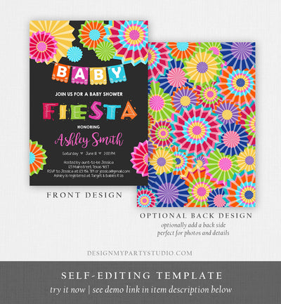 Editable Fiesta Baby Shower Invitation Coed Gender Neutral Sprinkle Mexican Taco Bout a Baby Love Download Corjl Template Printable 0045