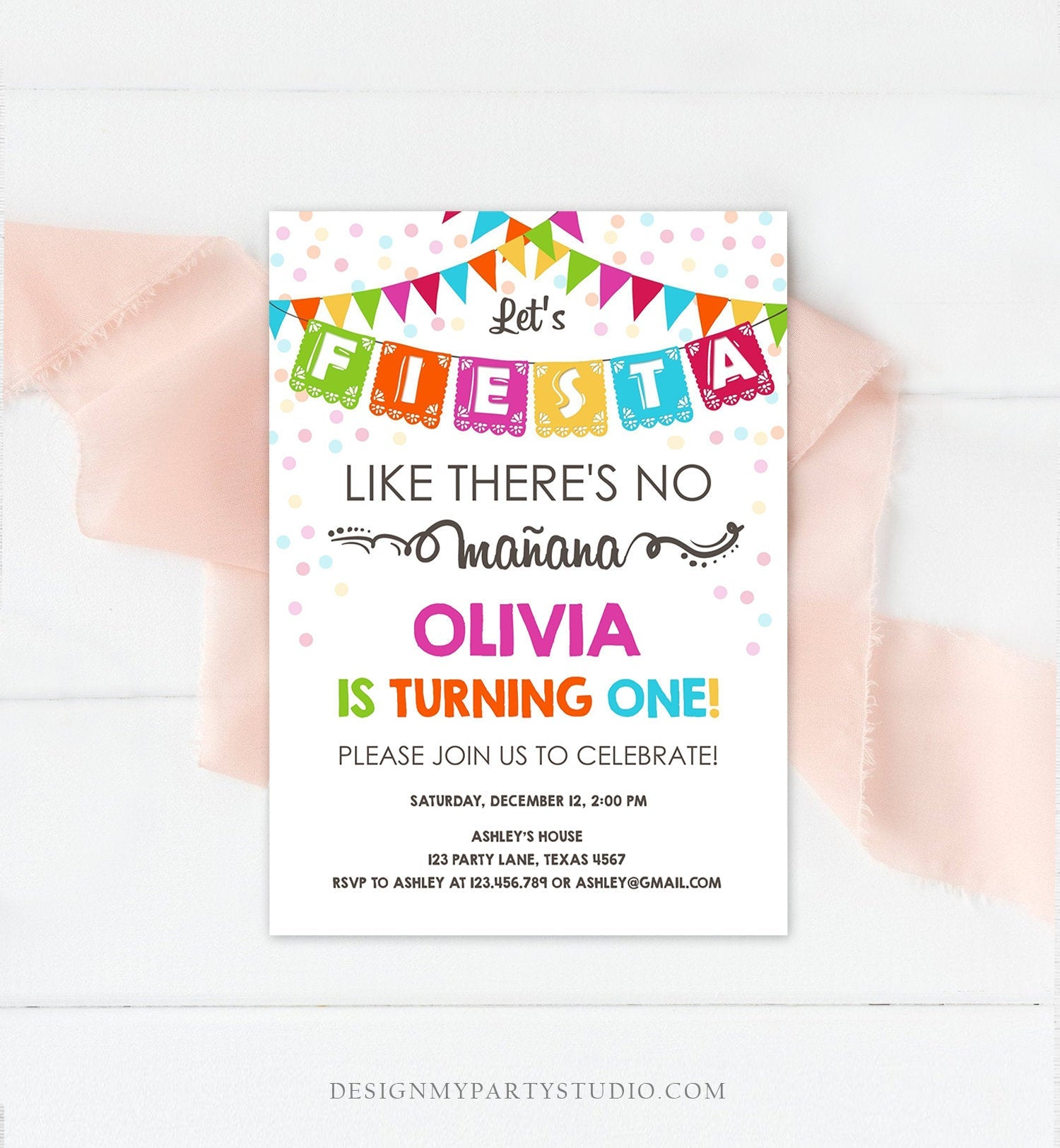 Editable Fiesta Birthday Invitation Let's Fiesta Like There is no Manana Cactus Mexican No Time to Siesta First Birthday Corjl Template 0045