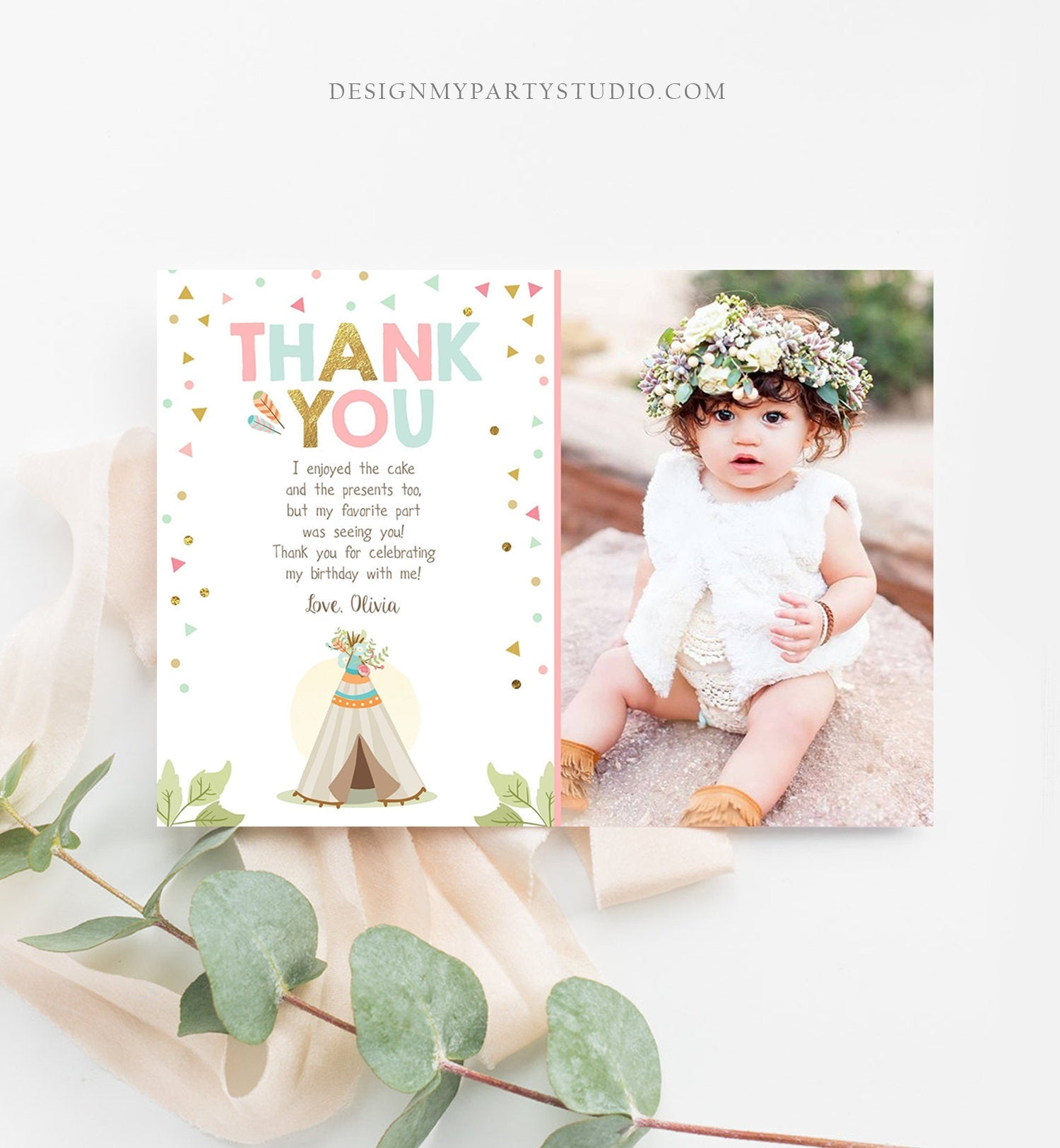 Editable Teepee Thank You Card Wild One Thank you Note Wild Three Birthday Tribal Feathers Pink Gold Girl Printable Template Corjl 0092