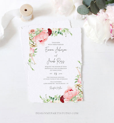 Editable Botanical Flowers Wedding Invitation Floral Greenery Bridal Shower Pastel Pink Peony Colors Digital Corjl Template Printable 0167