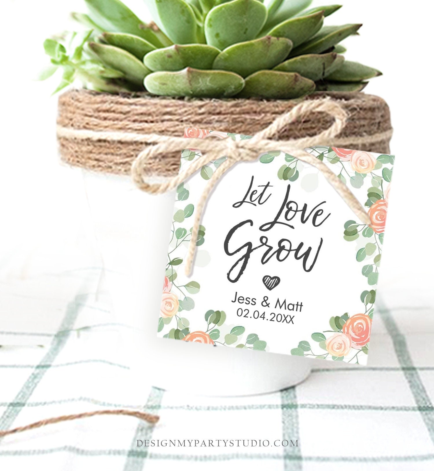 Editable Watch Love Grow Tags Wedding Shower Favor Tags Plant Tags Cactus Succulent Thank You Tag Download Corjl Template Printable 0029