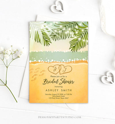 Editable Beach Bridal Shower Invitation Couples Shower Invite Wedding Shower Tropical Seashore  Download Printable Template Corjl 0128