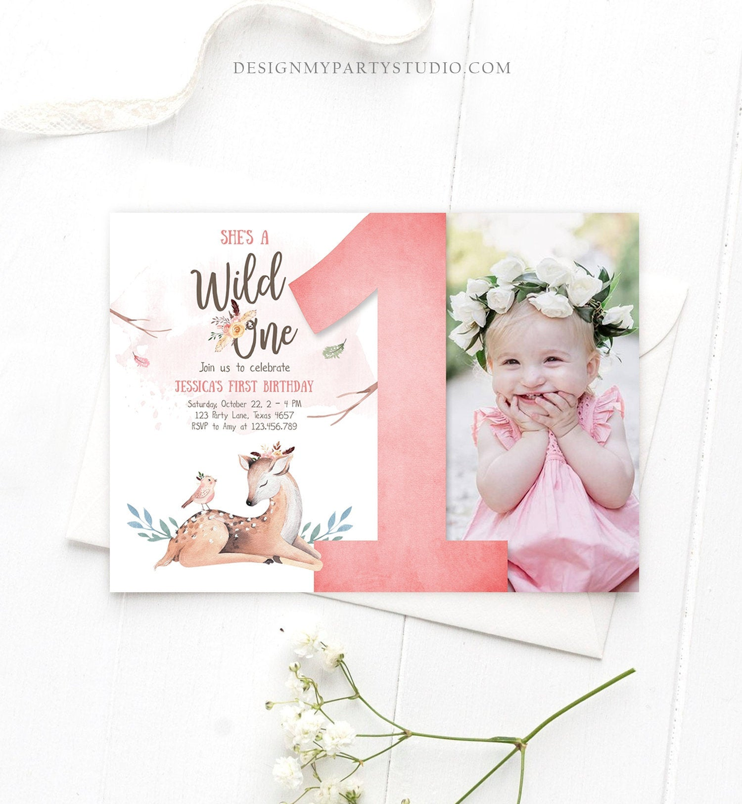 Editable Birthday Invitation Wild One Girl Invite Tribal Boho Arrow Feathers Deer Woodland Pink Download Printable Template Corjl 0192