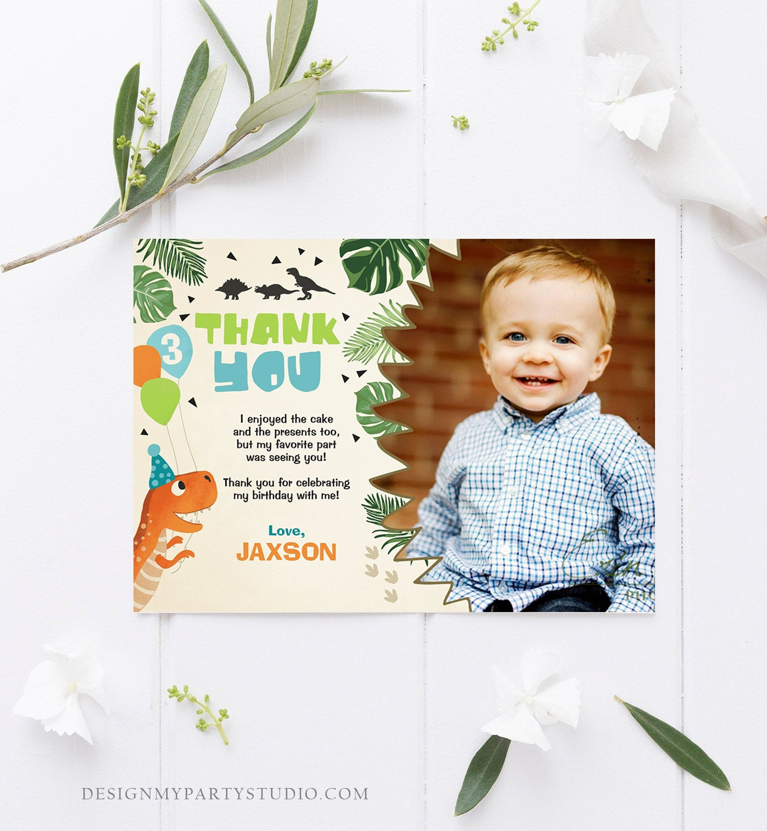 Editable Dinosaur Thank you Card Dino Birthday Dino Mite Prehistoric T-Rex ROAR Boy Dig Party Dino Dig Template Instant Download Corjl 0074