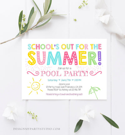 Editable School's Out For The Summer Pool Party Invitation Pink Girl Splish Splash Birthday Swimming Download Corjl Template Printable 0156