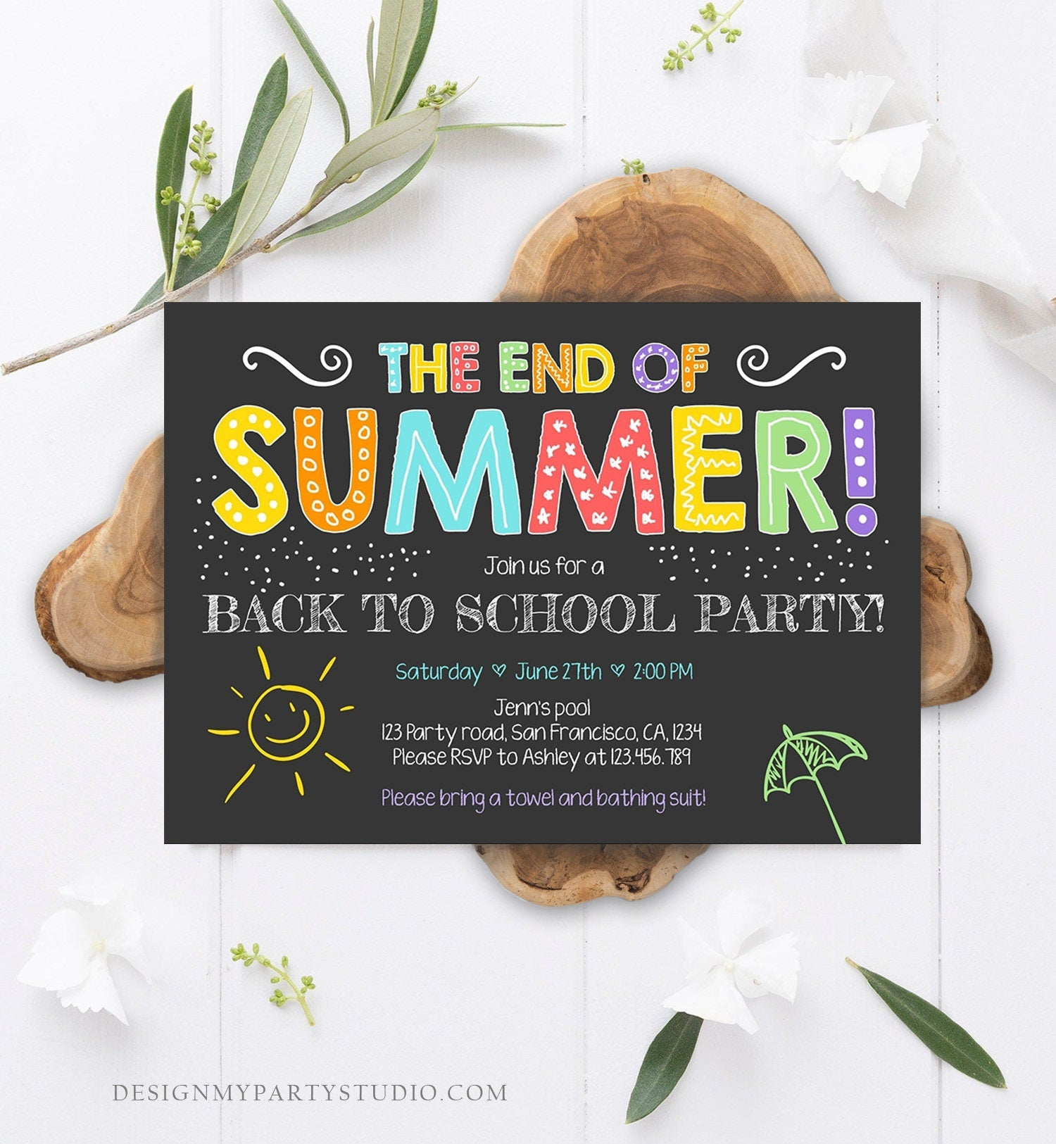 Editable End Of The Summer Pool Party Invitation Back to School Splish Splash Birthday Swimming Download Corjl Template Printable 0156