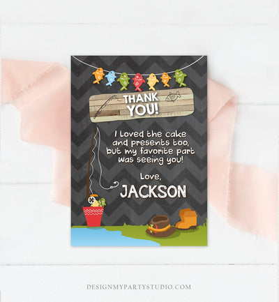 Editable Fishing Thank You Card Boy Birthday o-Fish-Ally Wood 1st First Birthday Gone Fishing Digital Download Printable Corjl Template 0080