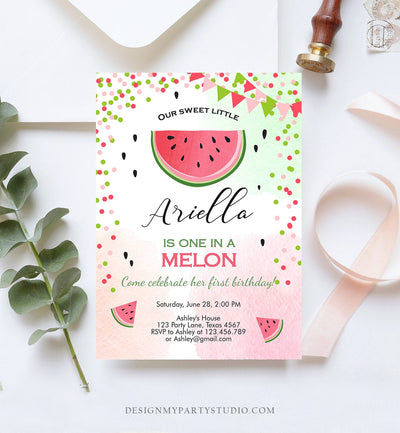 Editable One in a Melon Birthday Invitation Watermelon Invite Melon Party Summer Fruit Girl Download Printable Template Digital Corjl 0093