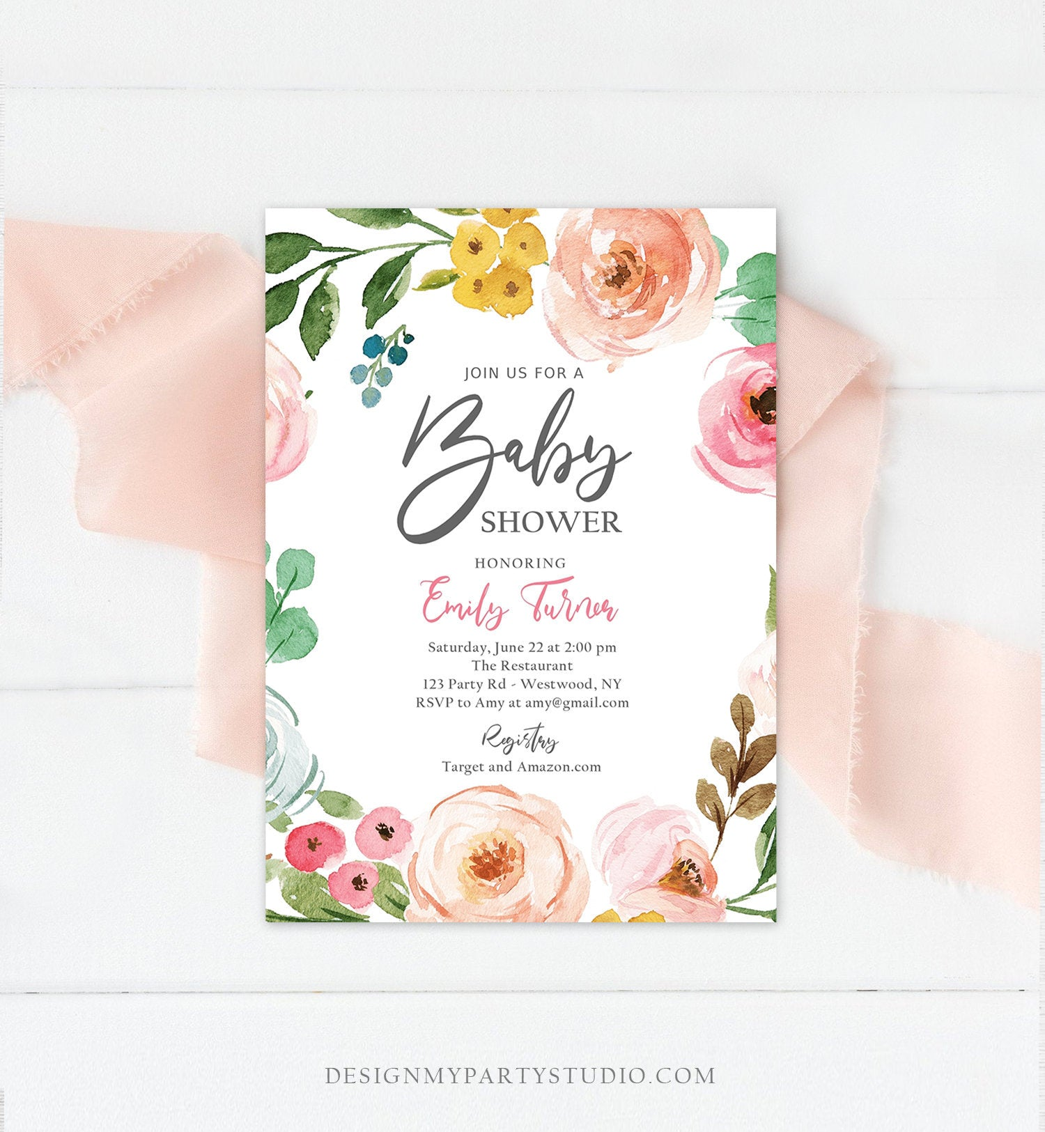 Editable Floral Baby Shower Invitation Floral Pink Bohemian Baby Sprinkle Shower for Girl Spring Summer Boho Printable Corjl Template 0166