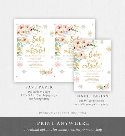 Editable Baby It's Cold Outside Baby Shower Invitation Pink Floral Gold Girl Winter Snow Flowers Download Corjl Template Printable 0184