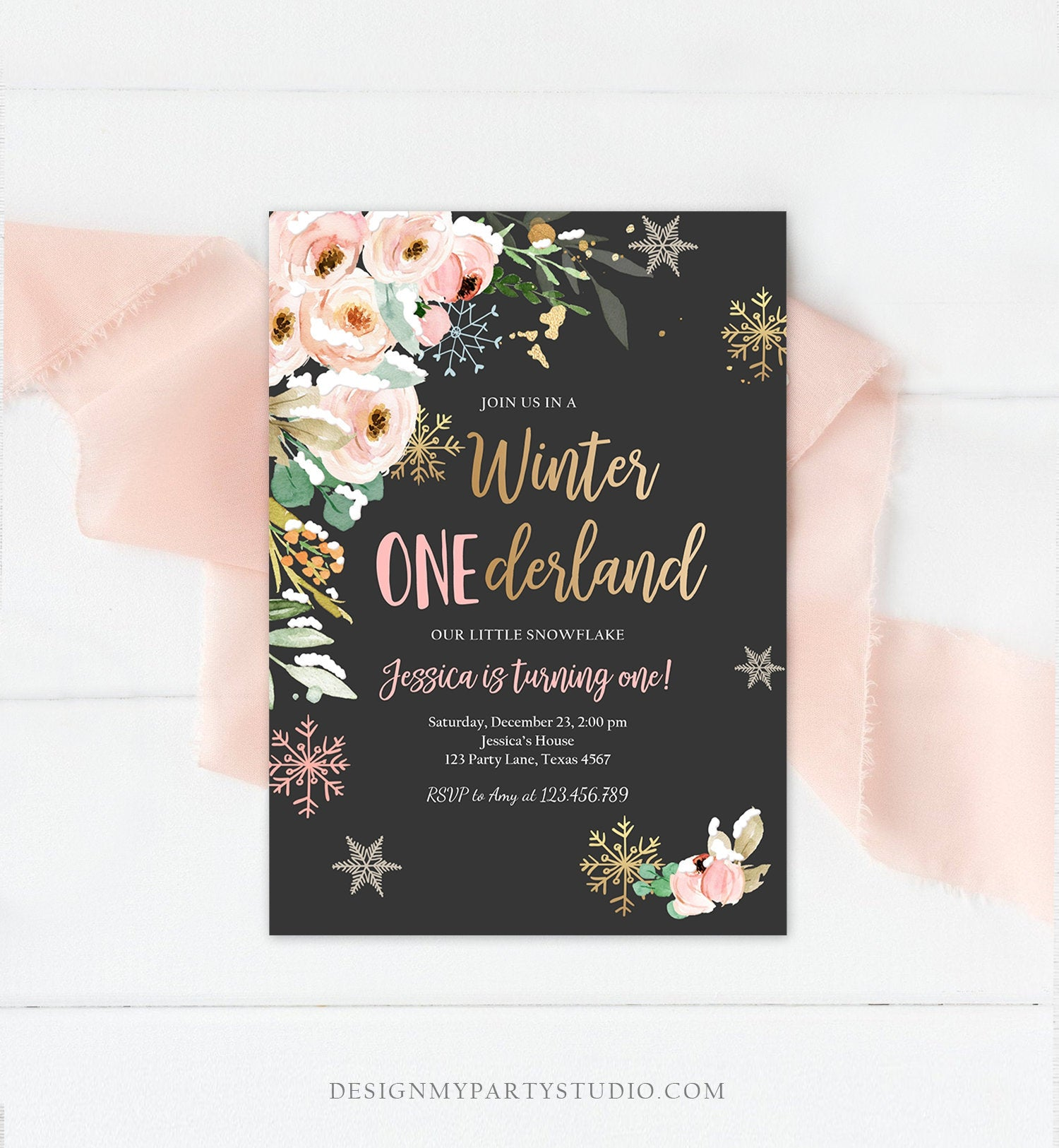 Editable Winter ONEderland Birthday Invitation ANY AGE Floral First Birthday Snowflake Girl Pink Gold Winter Wonderland Corjl Template 0184