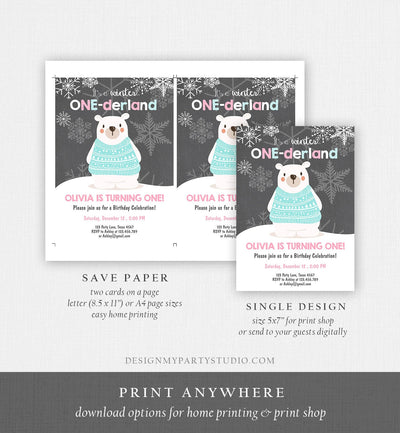 Editable Winter ONEderland Birthday Invitation 1st Birthday Girl Polar Bear Pink Download Printable Invitation Template Corjl 0022