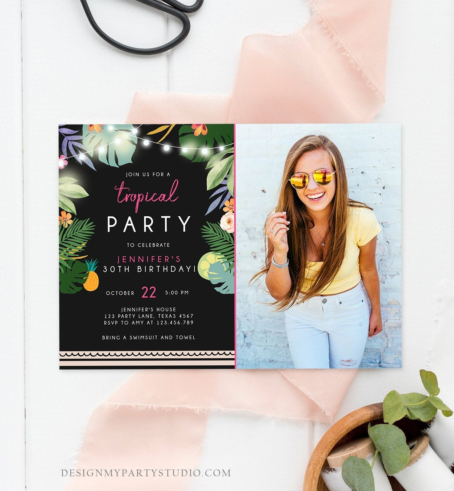 Editable Tropical Birthday Invitation Tropical Party Adult 30th 40th Birthday Pink Woman Palm Leaves Hawaiian Printable Template Corjl 0183