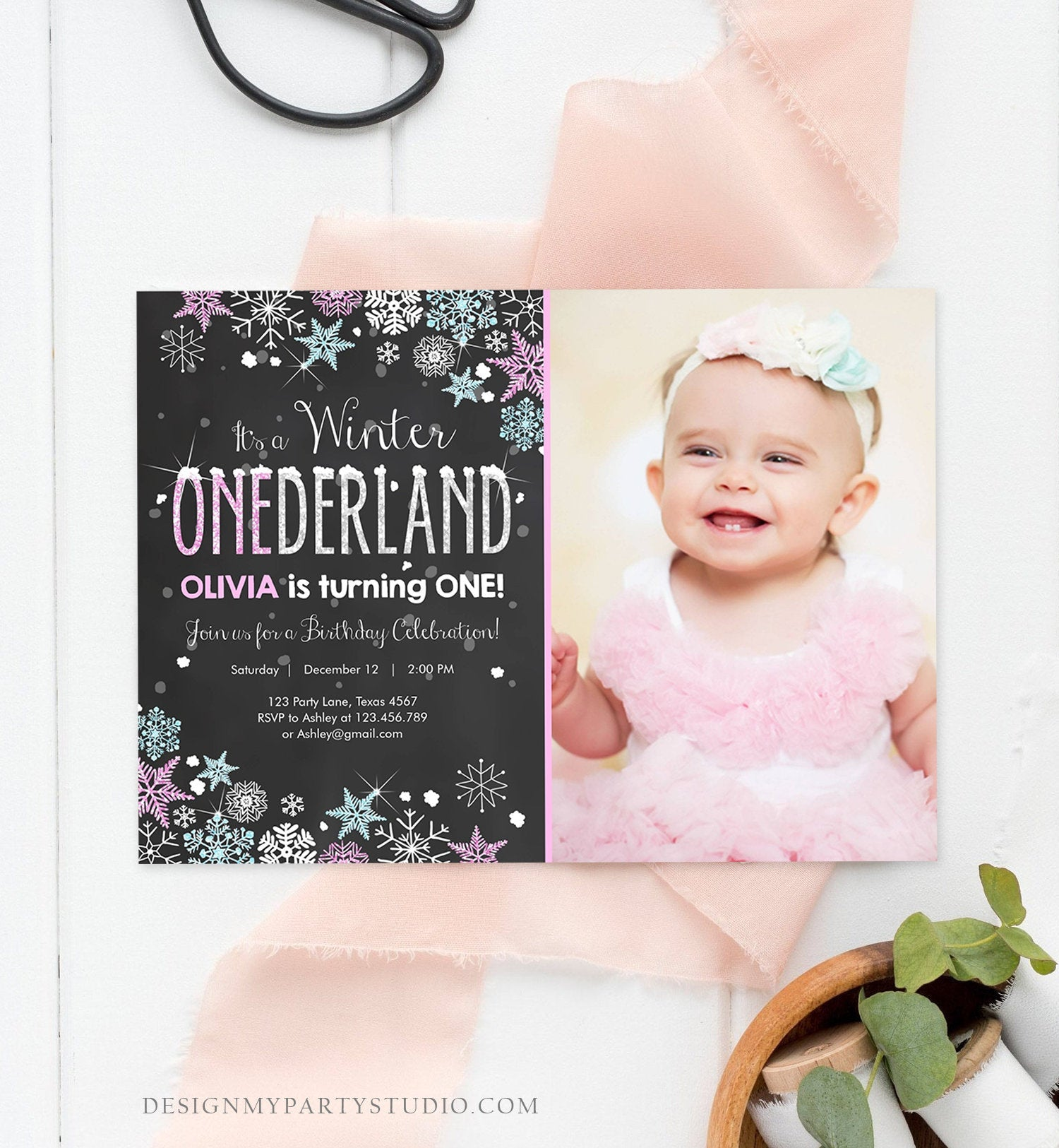Editable Winter ONEderland Birthday Invitation Pink Girl First Birthday 1st Winter Little Snowflake Mint Blue Corjl Template Printable 0033