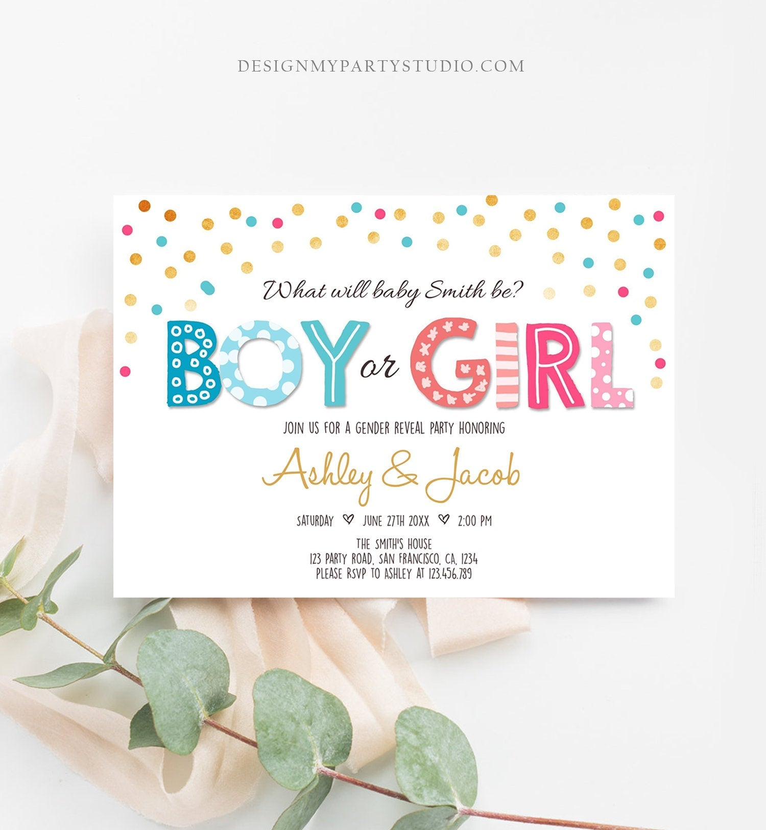 Editable Gender Reveal Invitation Boy or Girl Reveal Invite Blue or Pink He or She Instant Download Printable Template Corjl