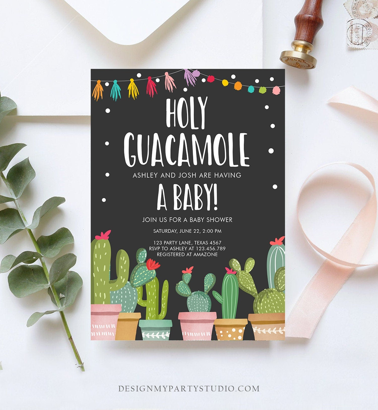 Editable Holy Guacamole Baby Shower Invitation Fiesta Cactus Mexican Taco Succulent Instant Download Printable Corjl Template Digital 0254