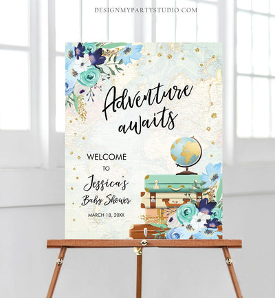 Editable Adventure Awaits Welcome Sign Baby Shower Traveling Around the World Travel Adventure Bridal Shower Floral Blue Corjl Template 0030