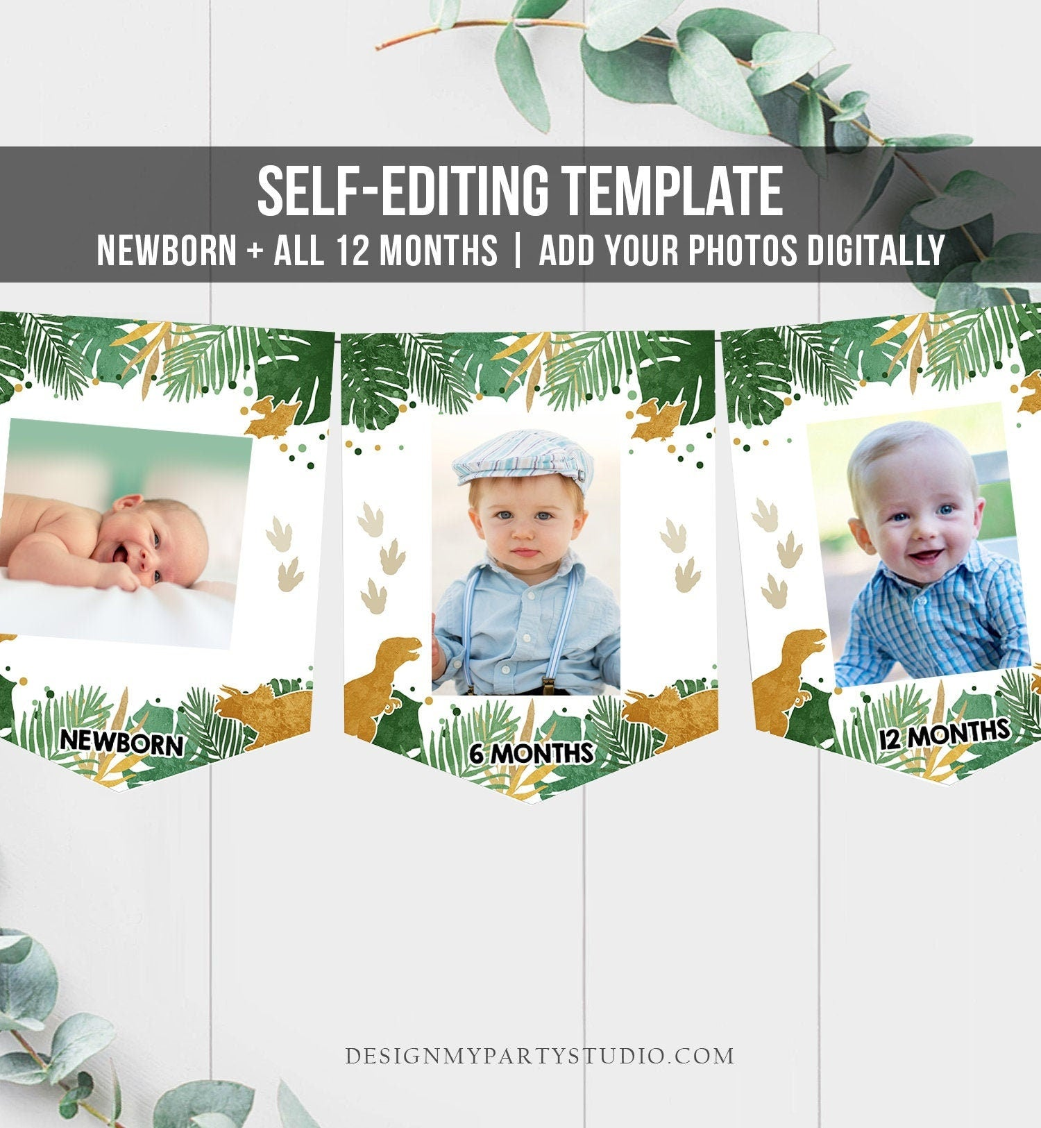 Editable Dinosaur Monthly Photo Banner Boy First Birthday Banner Gold Green Wild One Safari Animals Corjl Download Template Printable 0146