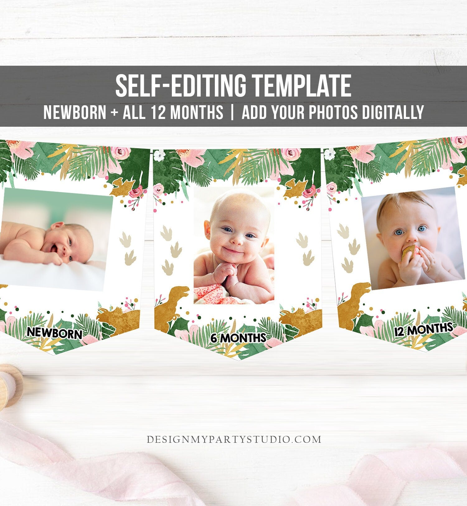 Editable Dinosaur Monthly Photo Banner Girl First Birthday Banner Gold Pink Wild One Safari Animals Corjl Download Template Printable 0146
