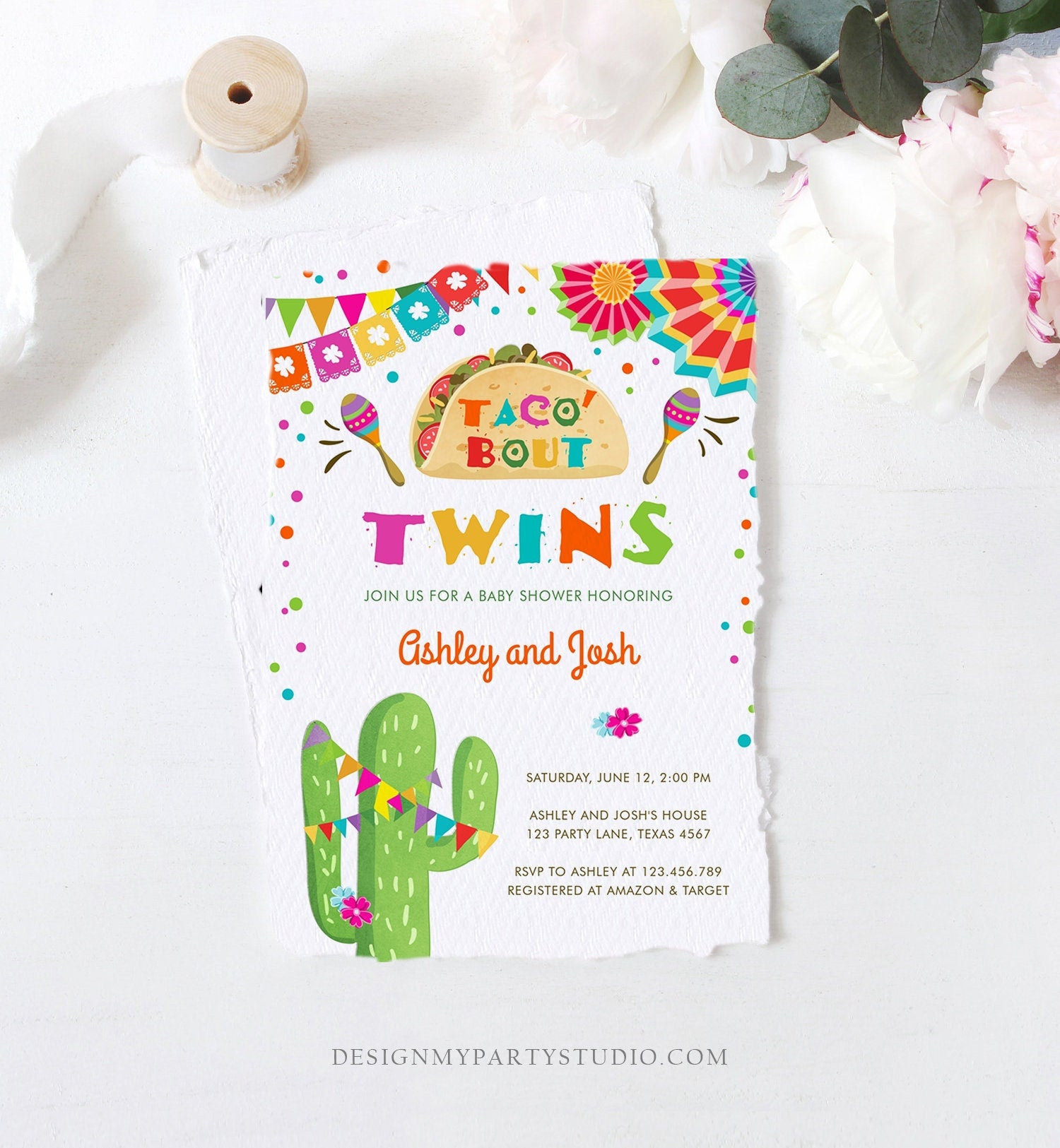 Editable Taco Bout Twins Baby Shower Invitation Cactus Chalk Mexican Fiesta Couples Shower Instant Download Printable Corjl Template 0045