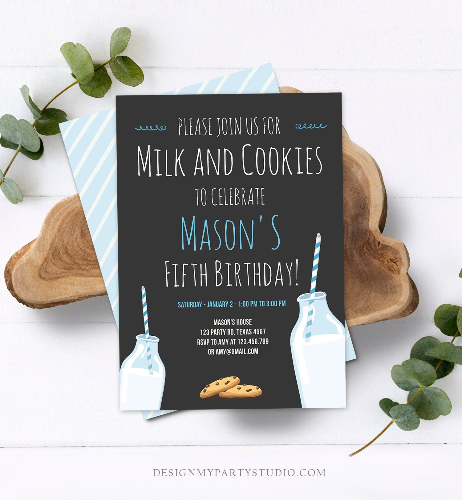 Editable Milk and Cookies Birthday Invitation Milk & Cookies Party Boy Blue Sweet Chocolate Chip Cookie Corjl Template Printable 0088
