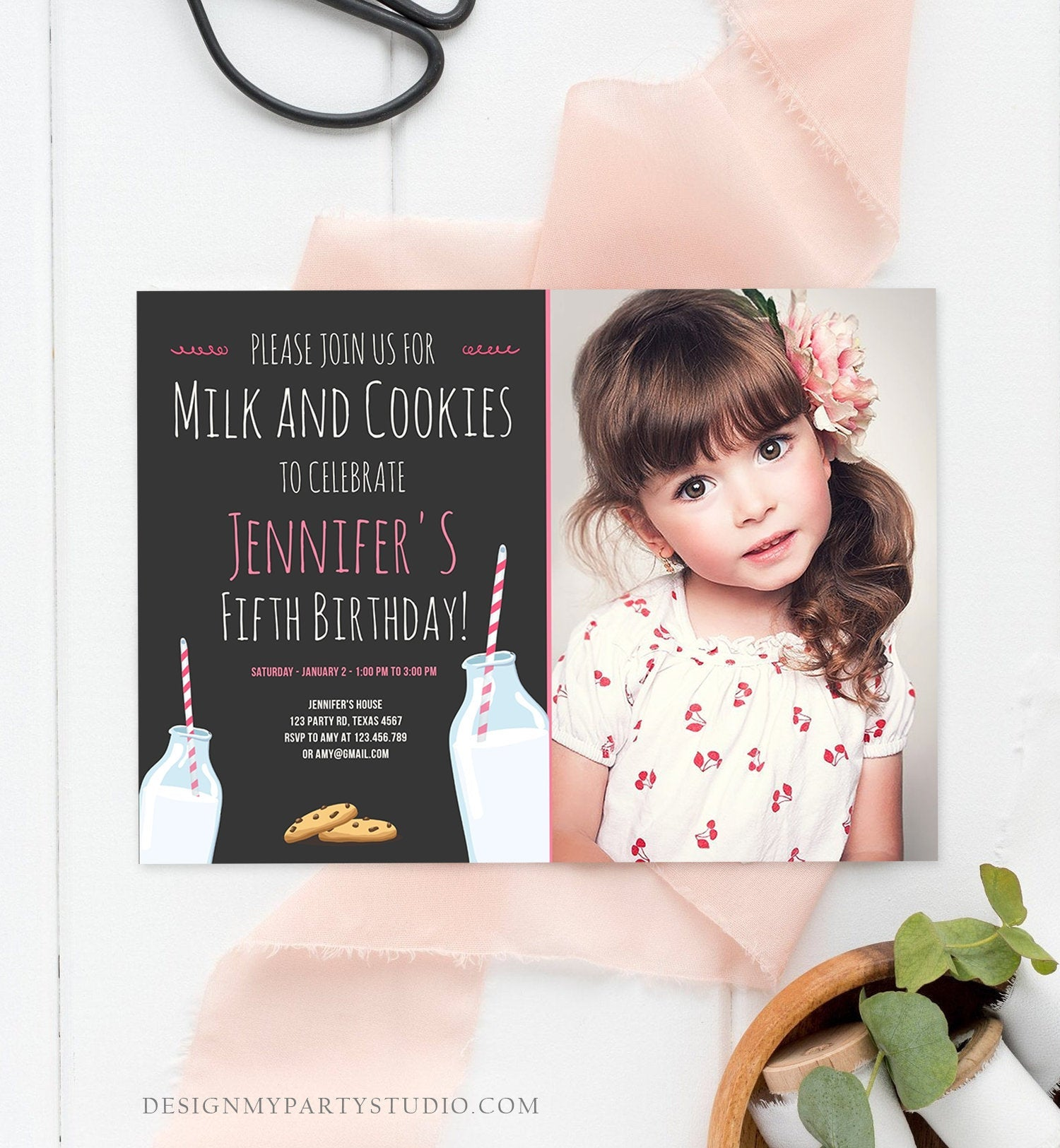 Editable Milk and Cookies Birthday Invitation Milk & Cookies Party Girl Pink Sweet Chocolate Chip Cookie Corjl Template Printable 0088