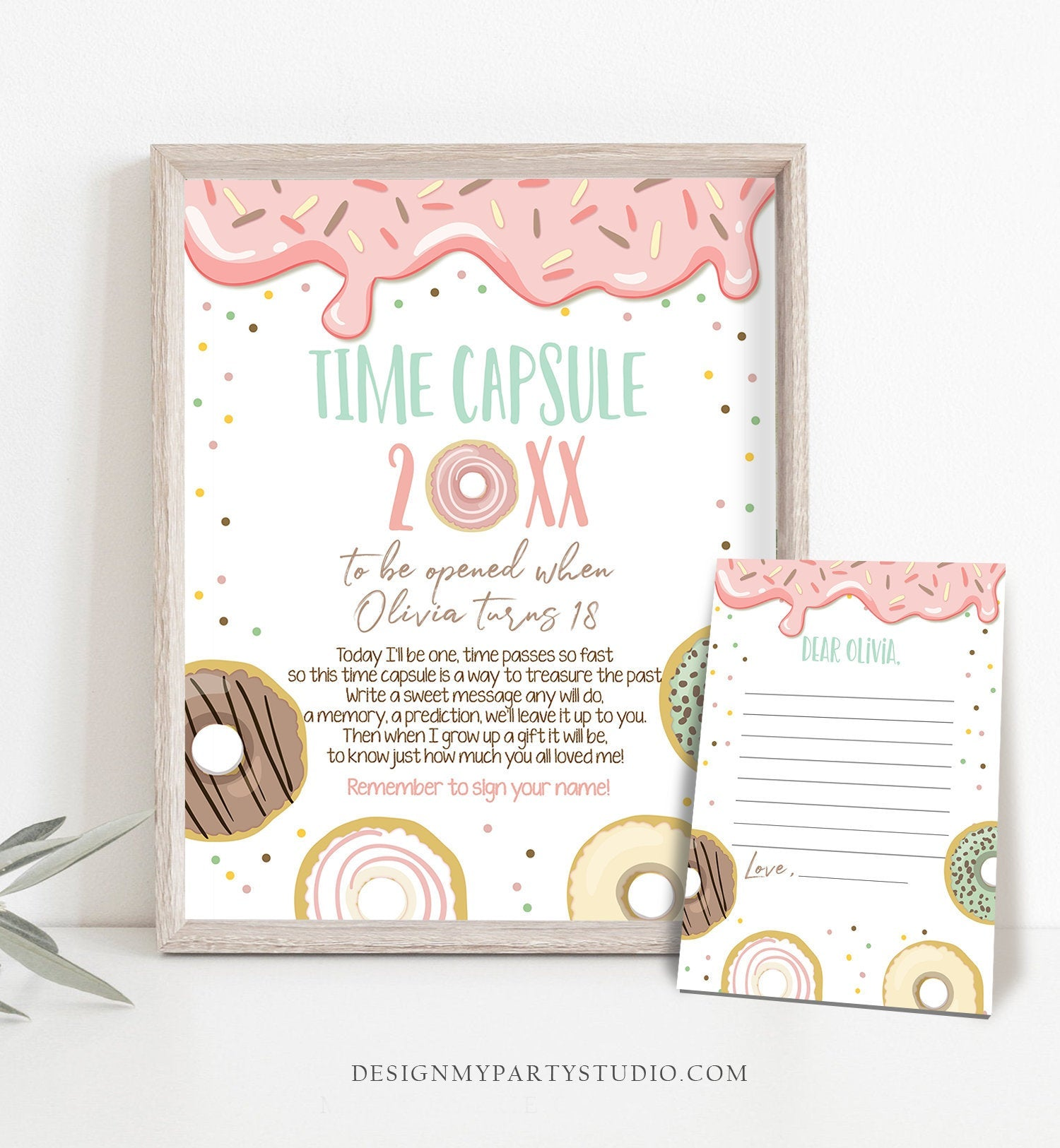 Editable Donut Time Capsule First Birthday Party Donut Birthday Donut Decor Doughnut Donut Party Girl Pink Template Printable Corjl 0320