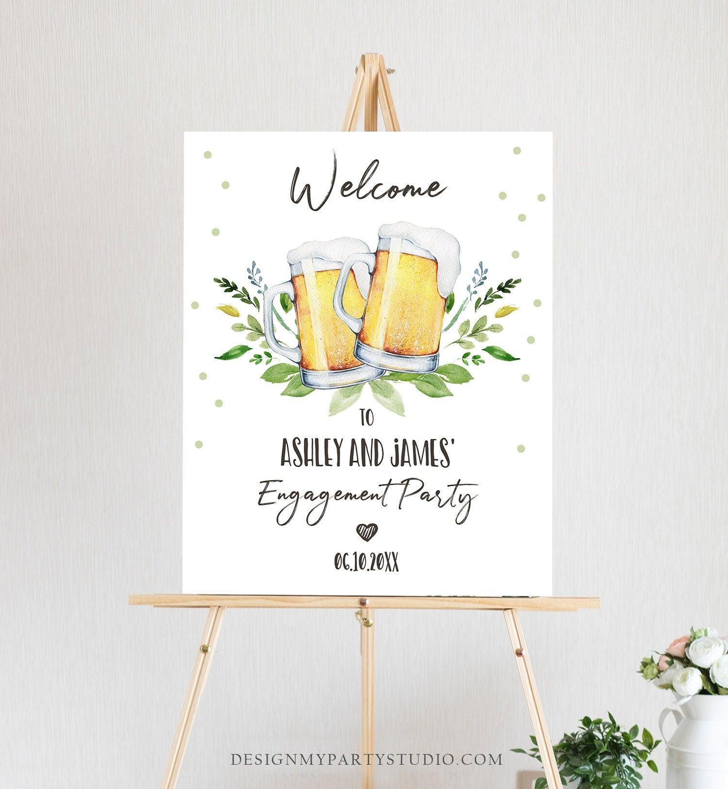 Editable Love is Brewing Welcome Sign Brewing Couples Shower Beers Cheers Wedding Shower Brews Before I Do Greenery Corjl Template 0190