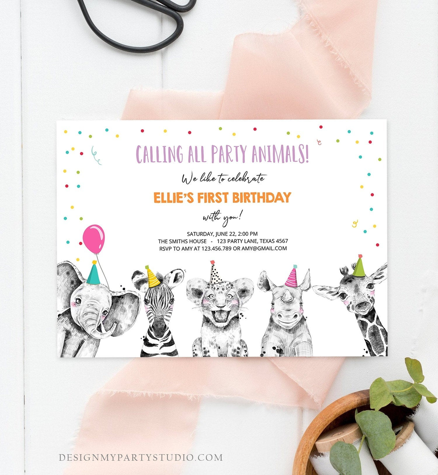 Editable Party Animals Birthday Invitation Wild One Animals Invitation Zoo Safari Animals Girl Download Printable Invite Template Corjl 0322