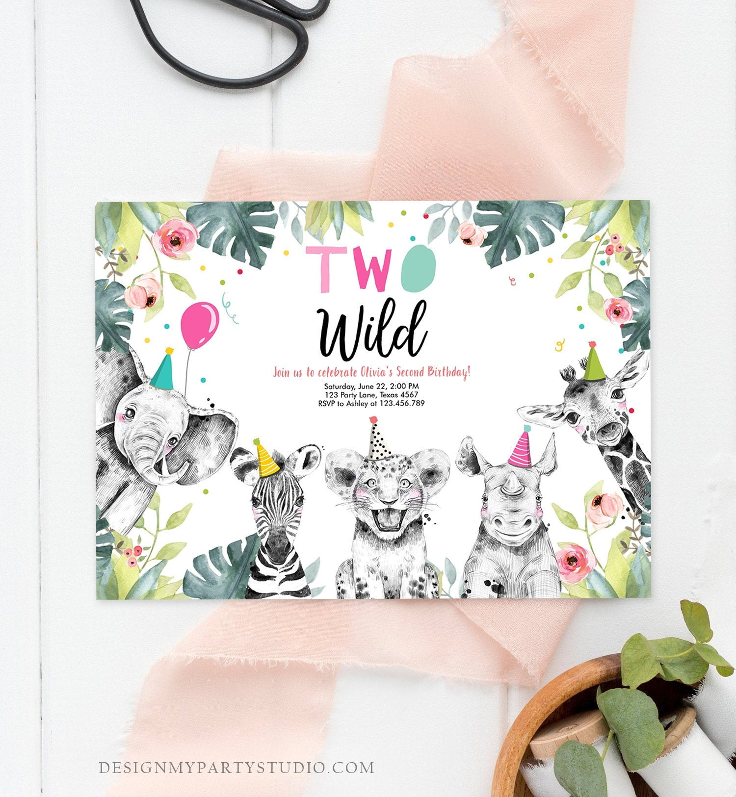 Editable Birthday Invitation Girl Two Wild Animals Invite Pink and Gold Safari Zoo Instant Download Printable Template Digital Corjl 0322