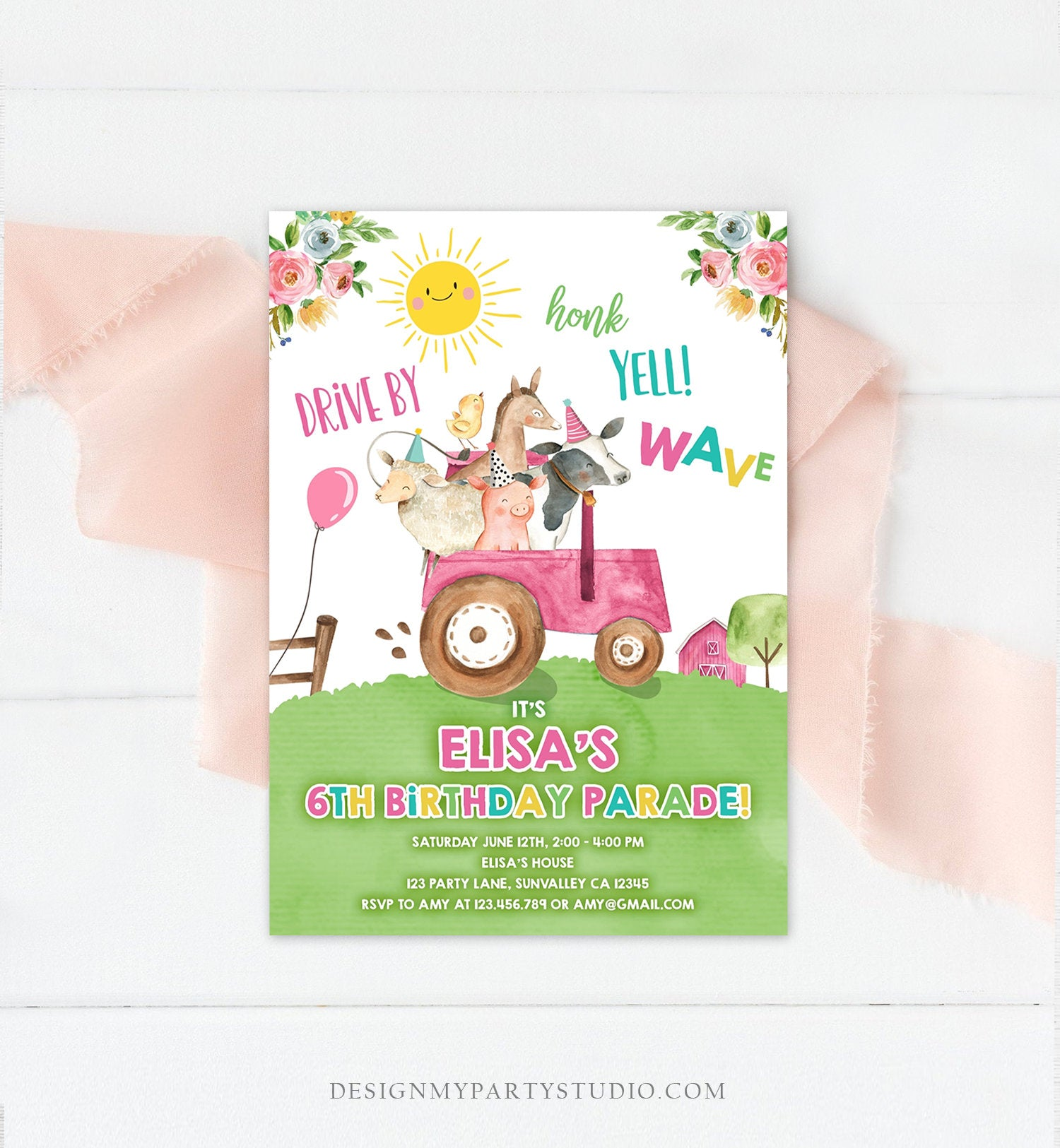 Editable Drive By Birthday Parade Invitation Farm Animals Virtual Party Invite Honk Wave Car Girl Pink Party Animals Digital Corjl 0155